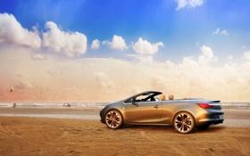 Обои Песок, Облака, Море, Машина, Кабриолет, Опель, Opel