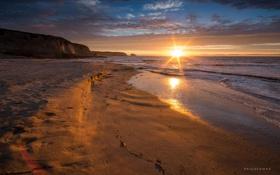 Картинка пейзаж, пляж, берег, природа, волны, расвет
