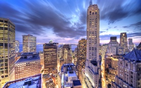 Обои свет, дома, Нью-Йорк, небоскребы, крыши, USA, Манхэттен