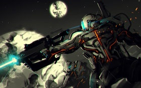 Обои moon, robot, war, helmet