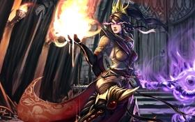 Обои огонь, Diablo III, посох, девушка, корона, маг, Reaper of Souls