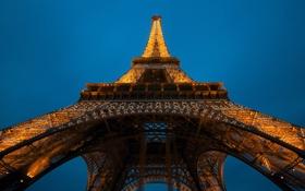 Обои свет, город, Франция, Париж, вечер, Эйфелева башня, Paris