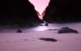 Картинка камни, скалы, камень, вечер, скала, песок, побережье