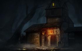 Обои лес, мрачно, фонарь, арт, ночь, дом, лужи