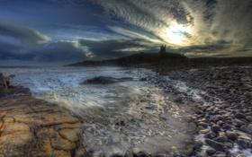 Картинка море, небо, закат, тучи, камни, замок, побережье