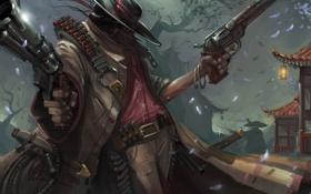 Картинка ночь, оружие, пистолеты, азия, шляпа, арт, мужчина