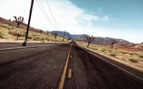 Обои дорога, небо, горы, трасса, need for speed, hot pursuit