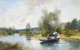 Обои пейзаж, река, зонтик, девушки, лодка, Severin Nilson, Roddtur i grönskande landskap
