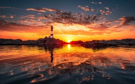 Обои закат, фото, Вода, Природа, Облака, Море, Маяк