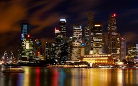 Картинка ночь, city, дома, Сингапур, высотки, Singapore, отель.