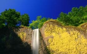 Обои небо, пейзаж, гора, водопад