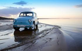 Картинка море, машина, небо, берег