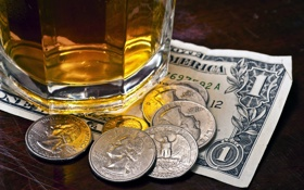 Картинка bar, money, dollar, coins, alcoholic beverage, banknote