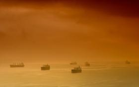 Обои море, небо, облака, корабли