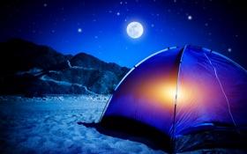 Обои night, camping tent, stars