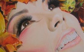 Картинка осень, взгляд, листья, девушка, лицо, ресницы, улыбка