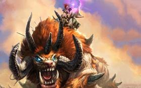 Картинка девушка, магия, монстр, арт, пасть, рога, зверь