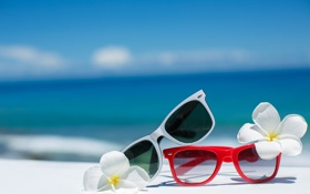 Картинка summer, beach, sea, flowers, sun, blue sky, glasses