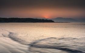 Картинка закат, небо, океан, оранжевое, вечер, побережье, берег