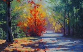 Обои рисунок, арт, artsaus, blue mountains autumn