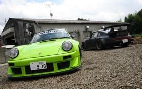 Картинка Porsche, Green, Black, Wide