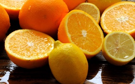 Картинка вода, капли, стол, апельсины, фрукты, цитрусы, лимоны