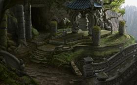 Обои пейзаж, скалы, заброшенность, колонны, concept art, руины, World of Warcraft
