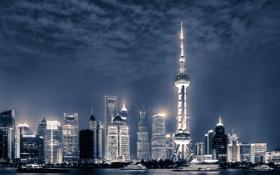 Картинка река, China, здания, яхты, Китай, Shanghai, Шанхай