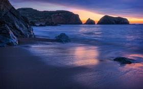 Картинка пляж, закат, камни, океан, скалы
