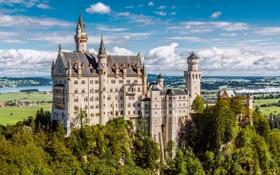 Обои лето, небо, облака, Германия, Бавария, замок Нойшванштайн