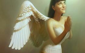 Картинка свет, Девушка, крылья, ангел, молитва