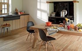 Обои плита, банки, шкафы, кухня, фрукты, интерьер, кастрюли