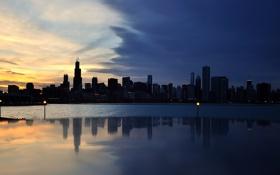 Картинка city, город, вечер, USA, Chicago, Illinois, панорамма