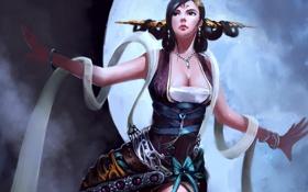 Картинка девушка, луна, руки, платье, арт, прическа
