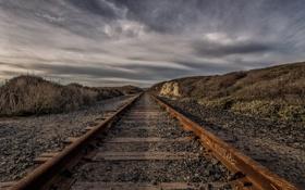 Обои небо, пейзаж, железная дорога