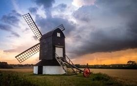 Обои небо, тучи, Великобритания, ветряная мельница