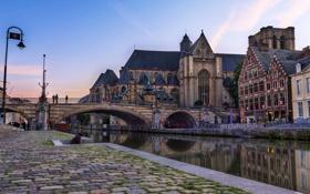 Обои мост, канал, Бельгия, Брюссель, строения, город.