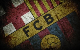 Обои футбол, лого, грандж, fc barcelona