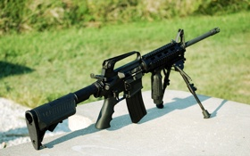 Обои штурмовая винтовка, сошка, AR-15, оружие