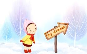 Картинка детские обои, указатель, деревья, шарфик, зима, пальто, снег