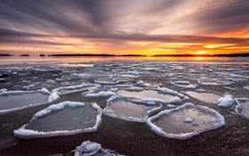 Картинка ночь, река, лёд
