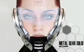 Обои взгляд, девушка, штрих-код, тату, шлем, Metal Gear Solid