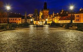 Обои свет, ночь, город, брусчатка, Прага, Чехия, освещение