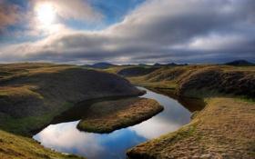 Обои природа, река, холмы, Исландия, русло