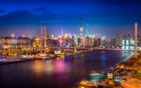 Обои небо, отражение, лодки, зеркало, фонари, Китай, Шанхай