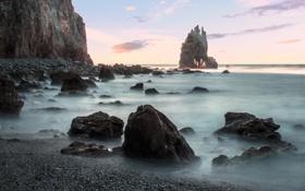 Картинка море, скала, камни, рассвет, берег