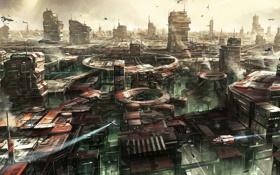 Обои космос, машины, город, здания, корабли, space, planet