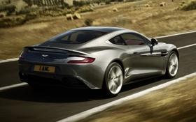 Обои дорога, серый, фон, Aston Martin, скорость, суперкар, вид сзади