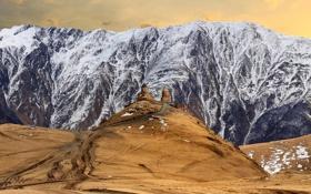 Картинка снег, пейзаж, горы, холм, церковь, храм