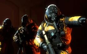 Обои оружие, солдаты, шлем, химзащита, Hazmat, костюм Call of Duty: Advanced Warfare